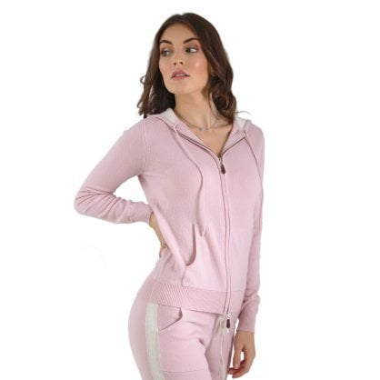 """Casual hooded cashmere jacket with contrast """"Beatrice"""""""