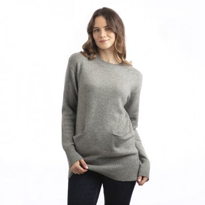 "Comfortable heavy cashmere round neck with pockets ""Wendy"""
