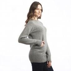 "CARLU de Monaco Comfortable heavy cashmere round neck with pockets ""Wendy"""
