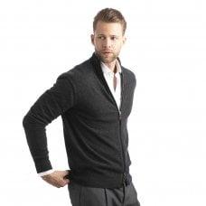 "CARLU de Monaco Full zip cashmere jacket with alcantara details ""Augustus"""