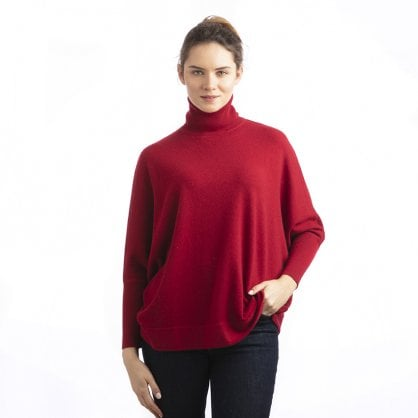 "Roll-neck batwing cashmere pullover ""Stacy"""