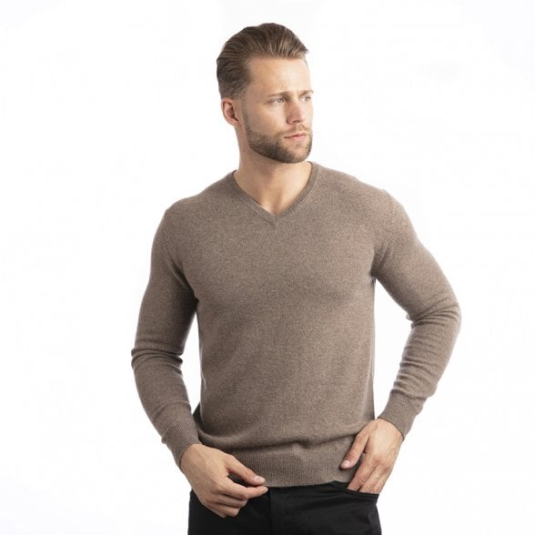 "V-neck cashmere pullover ""Gareth"" superfine knit"