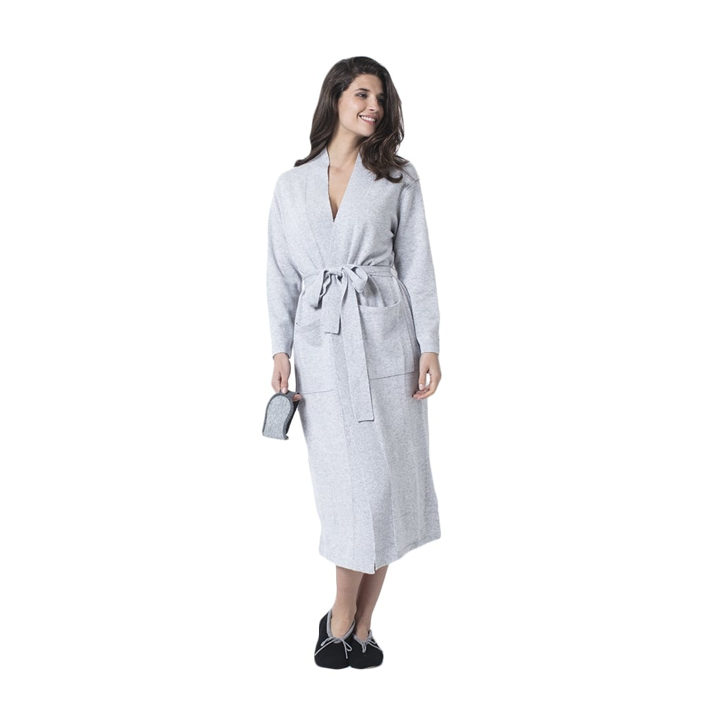 Long cashmere robe with belt