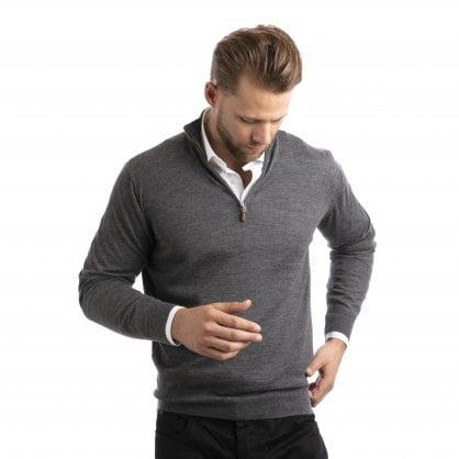 """1/4 Zip cashmere pullover """"Leonard"""" superfine knit"""